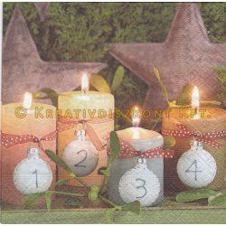 Szalvéta , Karácsonyi , Adventi gyertyák