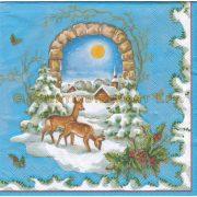 Szalvéta , Karácsonyi , Rénszarvasok a hóban
