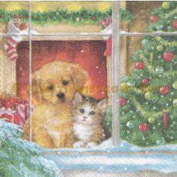 Szalvéta, Karácsonyi , Kutya és cica a télben