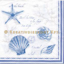 Szalvéta Kék kagylók és írások