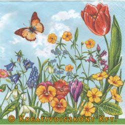 Szalvéta Tavaszi virágok és pillangó