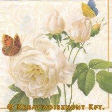 Szalvéta, Virágok, Fehér rózsák és pillangók-SZ9643.