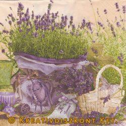 Szalvéta, Virágok, Levendula zsákban