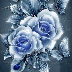 Gyémántszemes kirakó, kék rózsák 30 x 30 cm