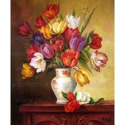 Gyémántszemes kirakó, Festett tulipánok vázában 44x54 cm