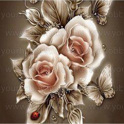 Gyémántszemes kirakó, Arany rózsák 30x30 cm