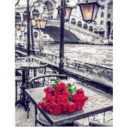 Gyémántszemes kirakó,Vörös rózsacsokor Velencében 40x53 cm