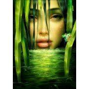 Gyémántszemes kirakó, Lány a zöldben 40x55 cm