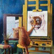 Gyémántszemes kirakó, macska önportré 50x50 cm