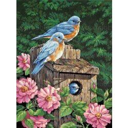 Gyémántszemes kirakó, Kék madárkák rózsaszín virágokkal 30x45 cm