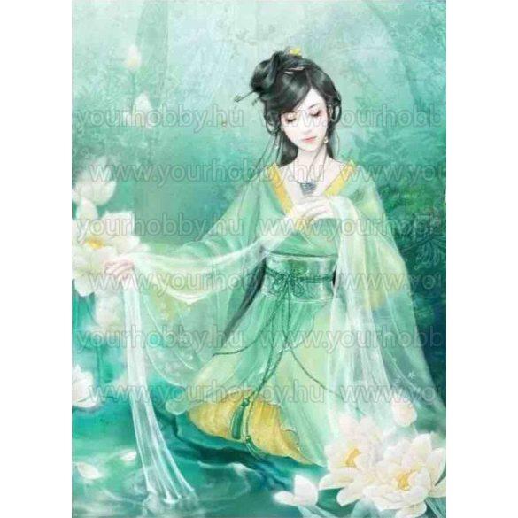 Gyémántszemes kirakó, Kínai hölgy 40x50 cm