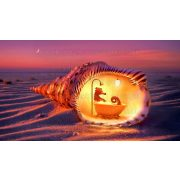 Gyémántszemes kirakó, Élet a kagylóban 45x30 cm