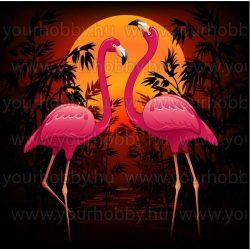 Gyémántszemes kirakó, Flamingók naplementében 30x40 cm