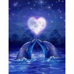 Gyémántszemes kirakó, Delfin szív 30x45 cm