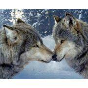 Gyémántszemes kirakó, Farkasok csókja 50x40 cm