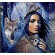 Gyémántszemes kirakó, Indián nő farkassal 50x40 cm