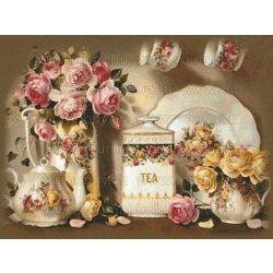 Gyémántszemes kirakó, Angol rózsák és teaidő 56x46 cm