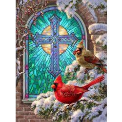 Gyémántszemes kirakó, Piros madárkák a boltíves ablaknál 30x40 cm