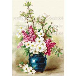 Gyémántszemes kirakó Virágok kék vázában 40x55 cm