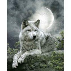 Gyémántszemes kirakó, Farkas a Holdfényben 40x48 cm