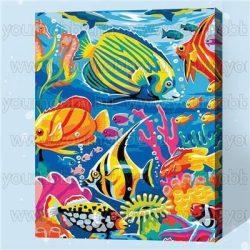 Festés számok után Színes halak 40x50 cm
