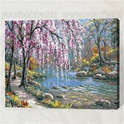 Festés számok után Lila fűzfa a tónál 40x50 cm E151
