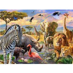 Festés számok után Afrika állatai 40x50 cm