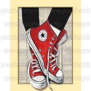 Gyémántszemes kirakó, Piros Converse cipő 35x45 cm