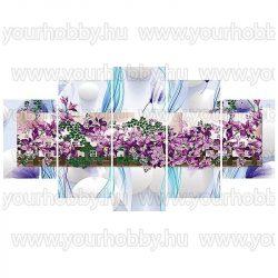 Gyémántszemes kirakó, Lila futó virág, 5 részes, 95x45 cm