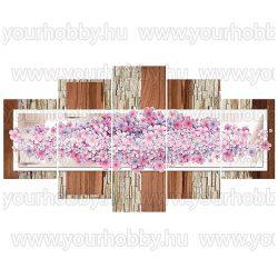 Gyémántszemes kirakó, Rózsaszín apró virágok,5 részes, 95x 45 cm