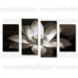 Gyémántszemes kirakó, Virág fekete-fehérben, 4 részes 80x45 cm