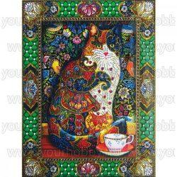 Gyémántszemes kirakó, Macska csészével 40x50 cm