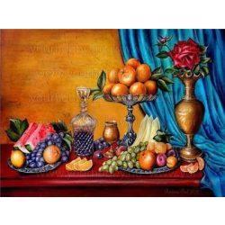 Festés számok után Narancs csendélet 40x50 cm