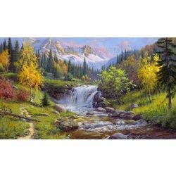 Festés számok után, Hegyvidék vízeséssel 40x50 cm