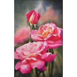 Gyémántszemes kirakó, 3 szál rózsa 40x60 cm