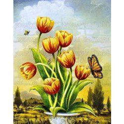Gyémántszemes kirakó, Tulipánok pillangóval 45x55 cm