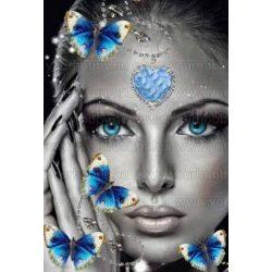 Gyémántszemes kirakó, Kék szemű hölgy kék pillangókkal 45x55 cm