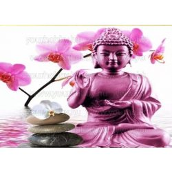 Gyémántszemes kirakó, Pink buddha 40x50 cm