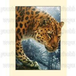Gyémántszemes kirakó, Leopárd 35x45 cm