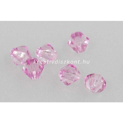 Akril gyöngy csiszolt - rózsaszín