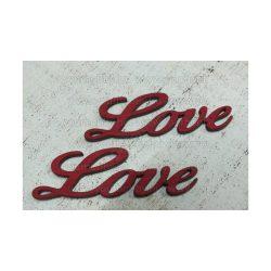 """Fa """"Love"""" felirat meggypiros 8 cm 2db/cs"""