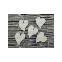 Fa francia szív fehér 4,5 cm 5db/cs