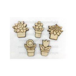 Fa mini cserepes virágok 3*2cm natúr 5db/csomag 5775