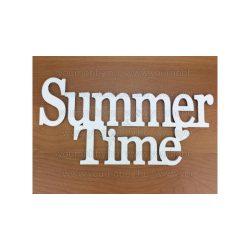 """Fa """"Summer Time"""" felirat koszorúra fehér 10x20 cm"""