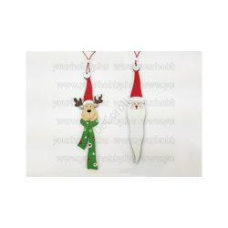 Akasztós karácsonyi szett - télapó/rénszarvas 22cm