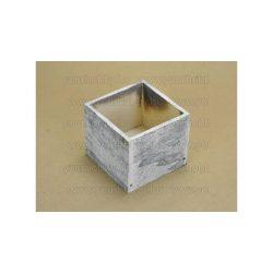 Fa dekorláda szürke koptatott kocka 9*9*8cm 2354G