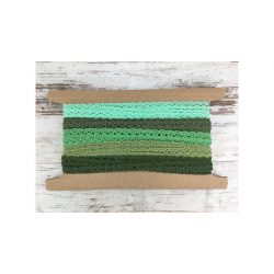 Pamut csipke zöld árnyalatai 2x5m 1cm széles