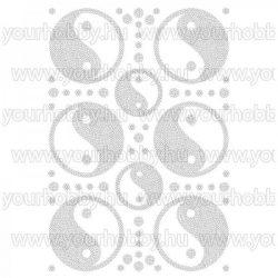 Vasalható strasszköves textil transzfer Yin-Yang A4