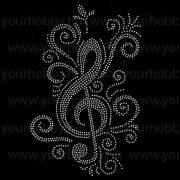 Vasalható strasszköves textil transzfer Violinkulcs A4