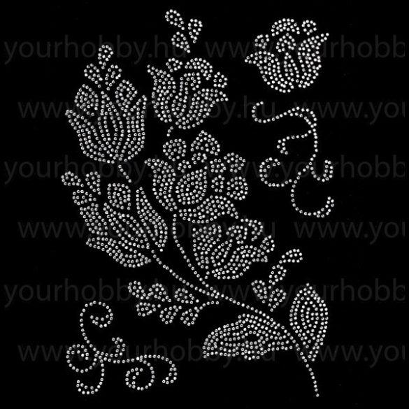 Vasalható strasszköves textil transzfer Romantikus virágok A4